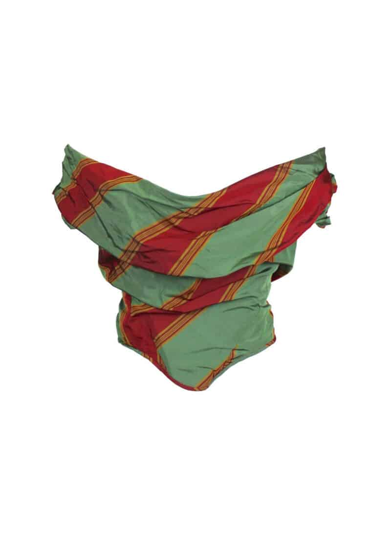 VIVIENNE WESTWOOD Green & Red Silk Taffeta Corset, Tied to the Mast SS98
