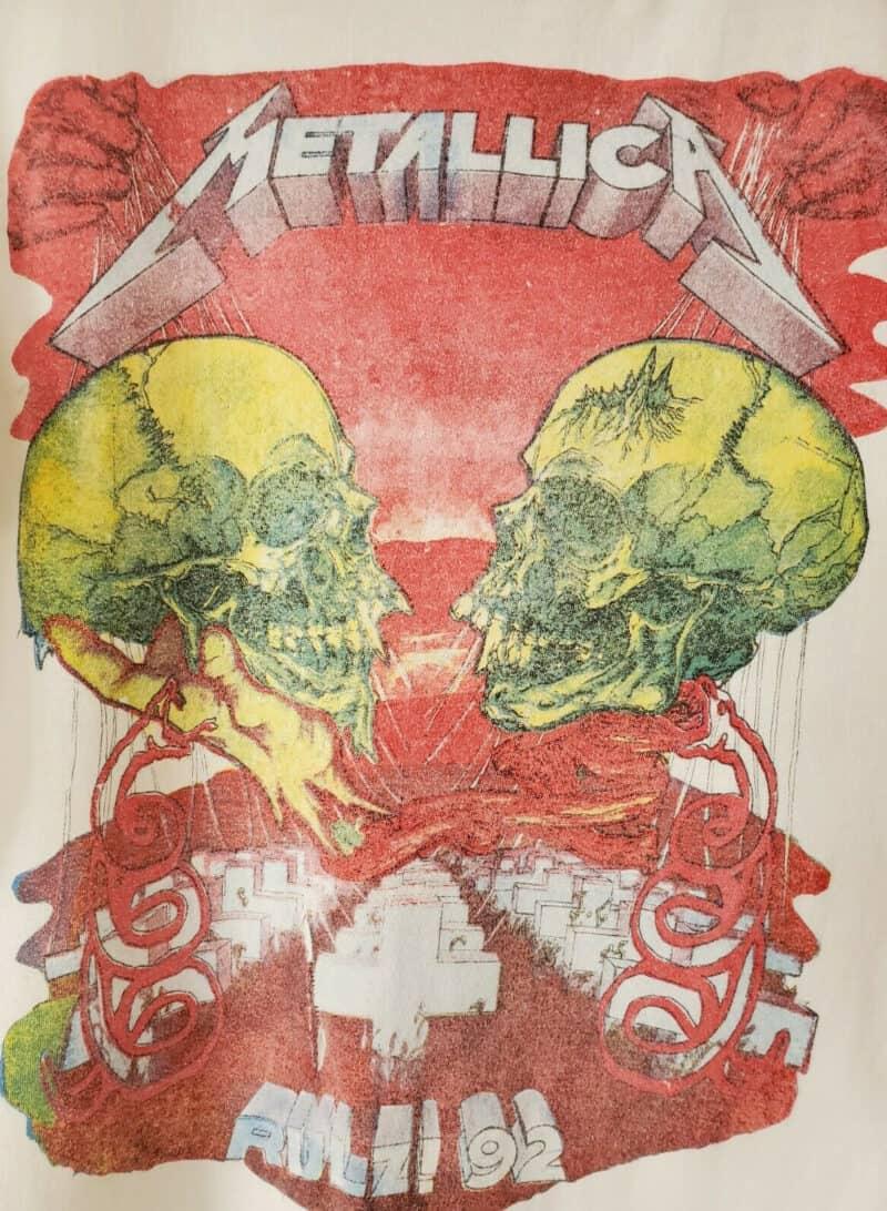 Vintage 1992 Metallica Rulz Band Tee Tour tee Shirt 92 White Skulls Pushead 2