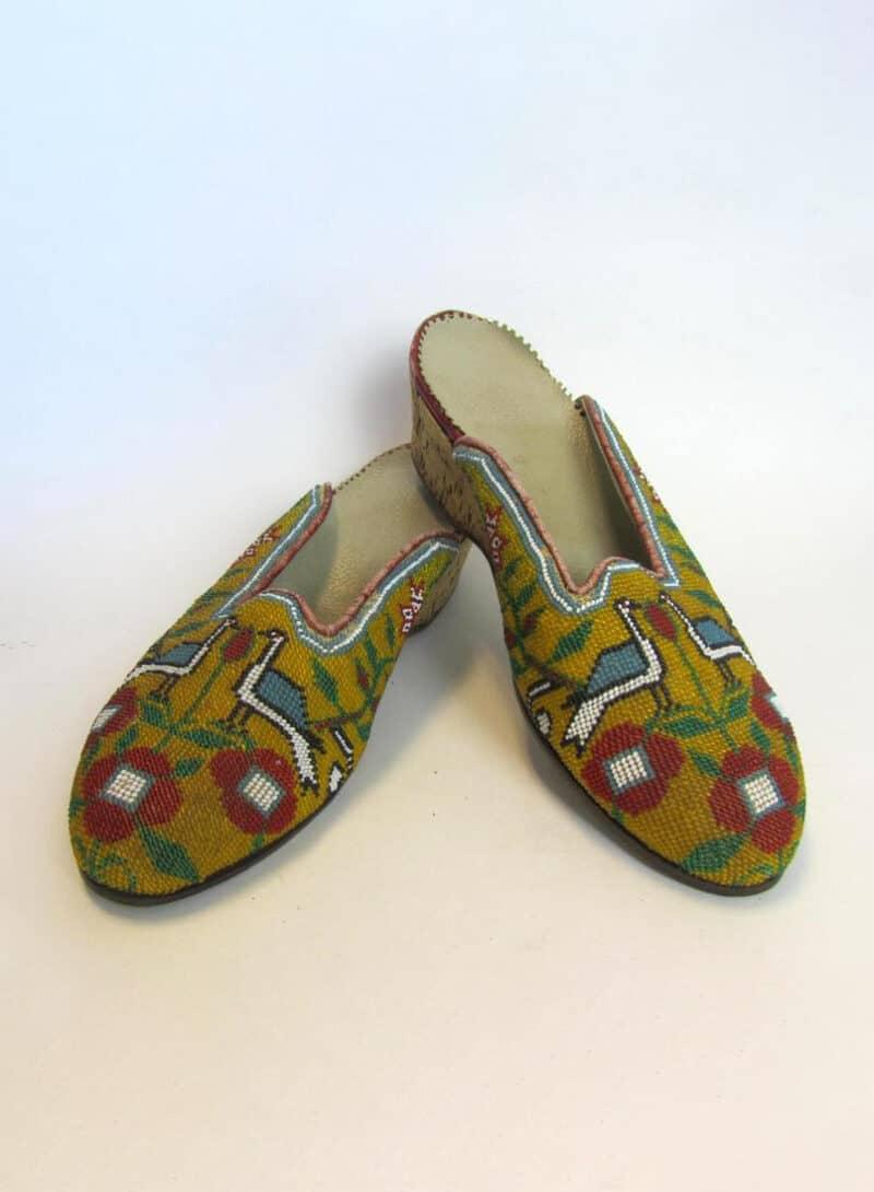 Vintage Beaded Shoes Uzbek Afghanistan Birds Cork heels Turkish Rug Kilim Design Central Asian Glass Bead Embroidery embroidered flowers