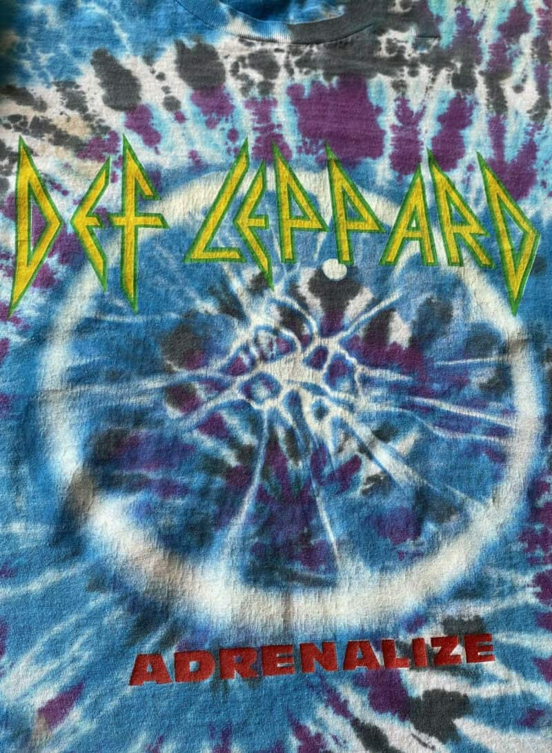 Vintage DEF LEPPARD Adrenalize 1992 Psychedelic Tie Dye Concert Band Tee 2