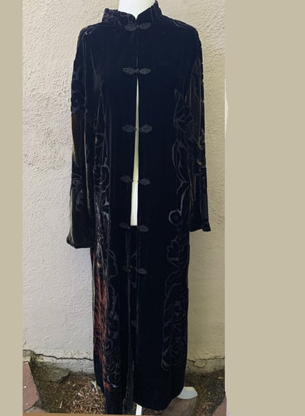 Vintage Inspired Black Velvet Burnout Kimono