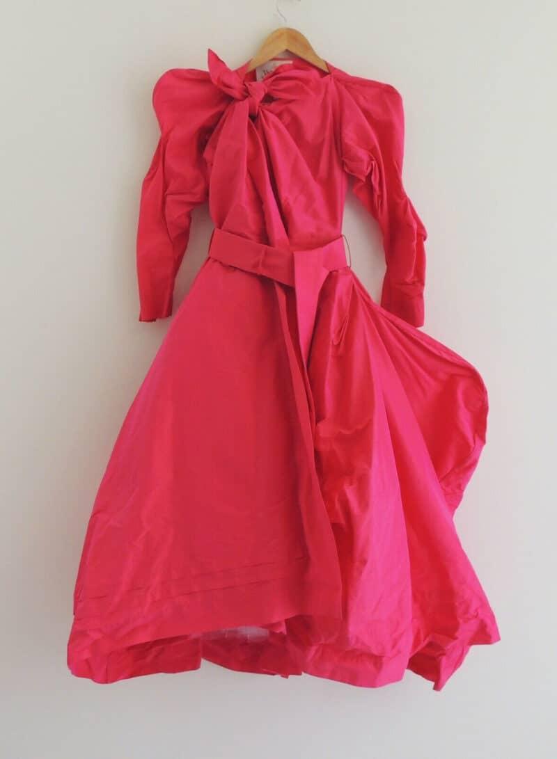 Vivienne Westwood 2002 NYMPHS Collection Red animal cut silk Taffeta dress