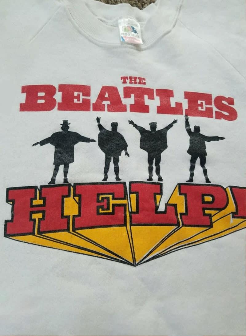 Vtg The Beatles Help! Album Mens Sweatshirt Sz L 90's Rare Band Tee FOTL 2