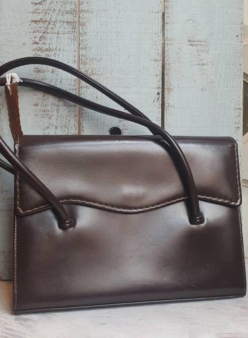 WALDY VINTAGE 1950S BROWN LEATHER BAG