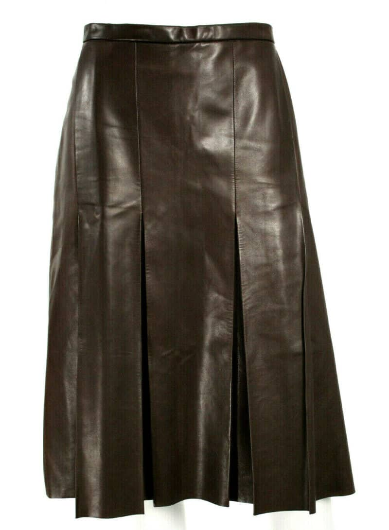 YVES SAINT LAURENT BROWN A LINE PLEATS LEATHER SKIRT