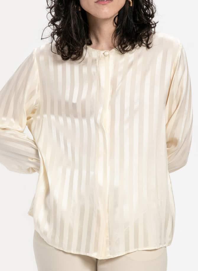 90s Cream Silk Striped Shirt