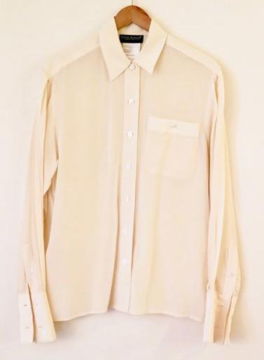 90s Era Vintage Off White Harve Bernard Silk Button up BlousE