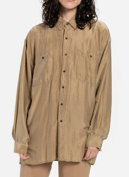 90s Taupe Silk Shirt