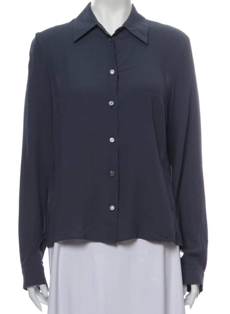 CELINE Silk Long Sleeve Button-Up Top