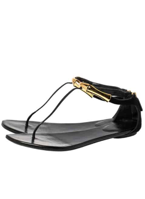 Gucci Suede Flat Thong Sandals