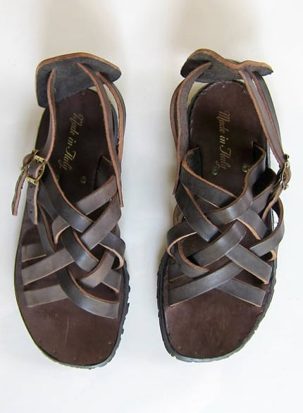Italian Brown Leather Huaraches Sandals