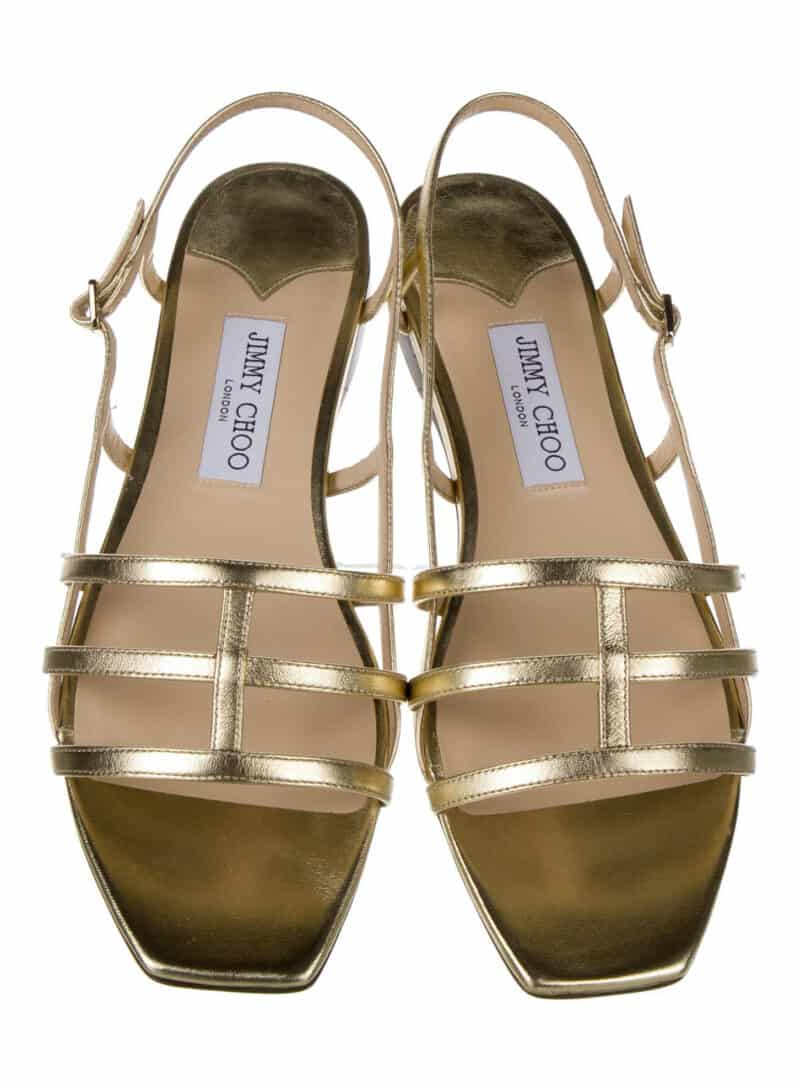 JIMMY CHOO Leather Cutout Accent Slingback Sandals