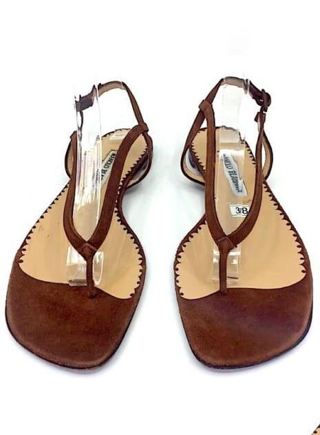 MANOLO BLAHNIK Brown Suede Thong Slingback Sandal Flat