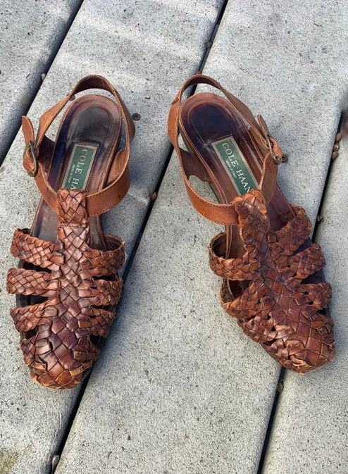 Vintage Brown Leather Ankle Strap Sandals