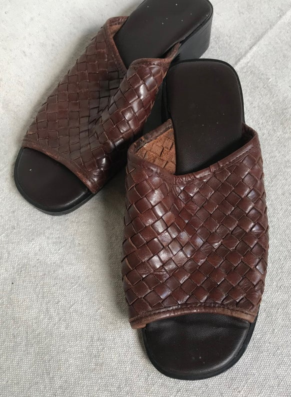 Woven brown leather slide on sandals with heel