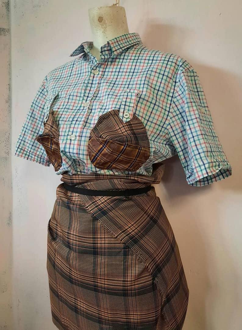 bustier top BZR bruuns bazaar cotton silk wool tartan constrast w Vandevorst fabric