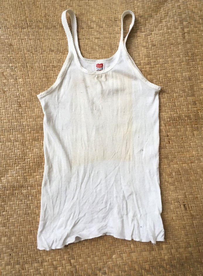 1970s tank top cotton white made in USA
