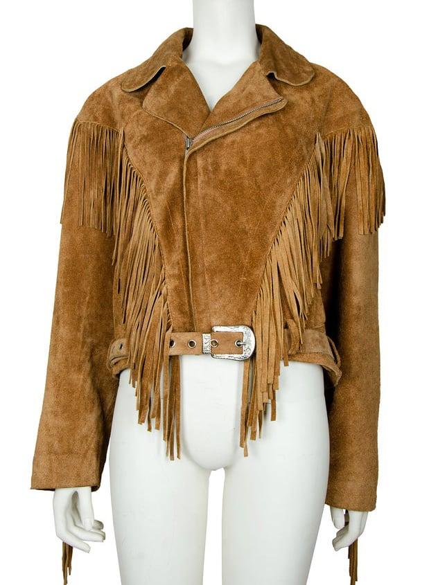 70s caramel leather fringe cropped biker jacket