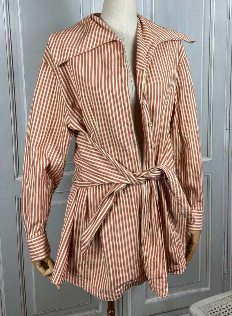 90s Dries Van Noten Striped Asymmetric Cotton Button Shirt