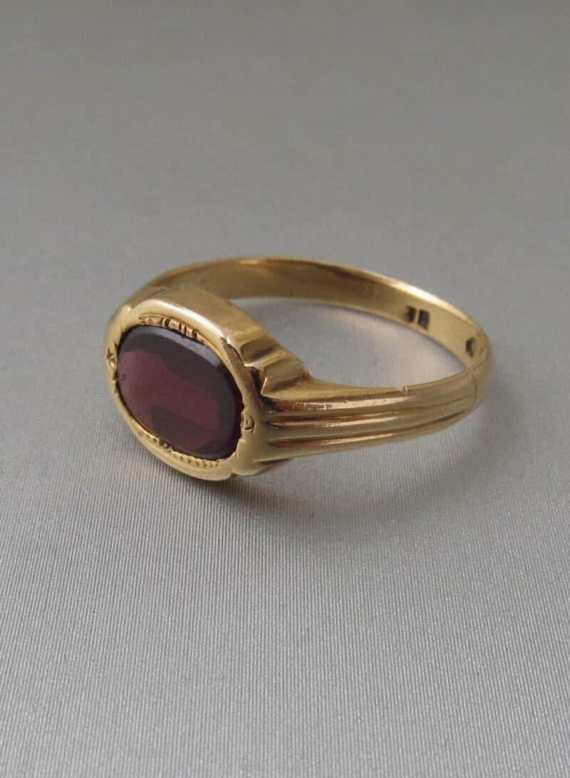 Antique Gold and Garnet Signet Ring - 18K Gold