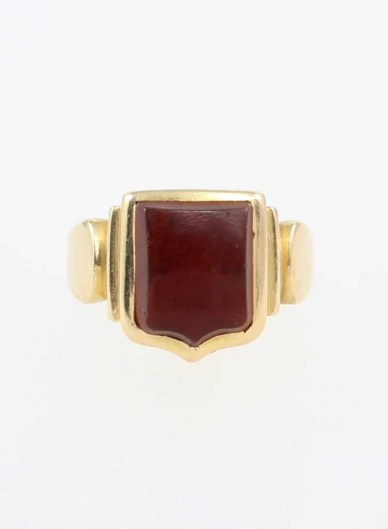 Antique Victorian 18ct Gold Carnelian Shield Signet Ring