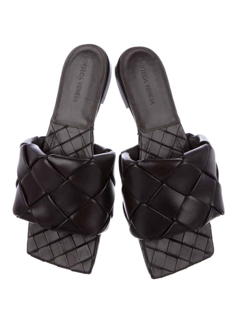 BOTTEGA VENETA Intrecciato Weave Leather Slides