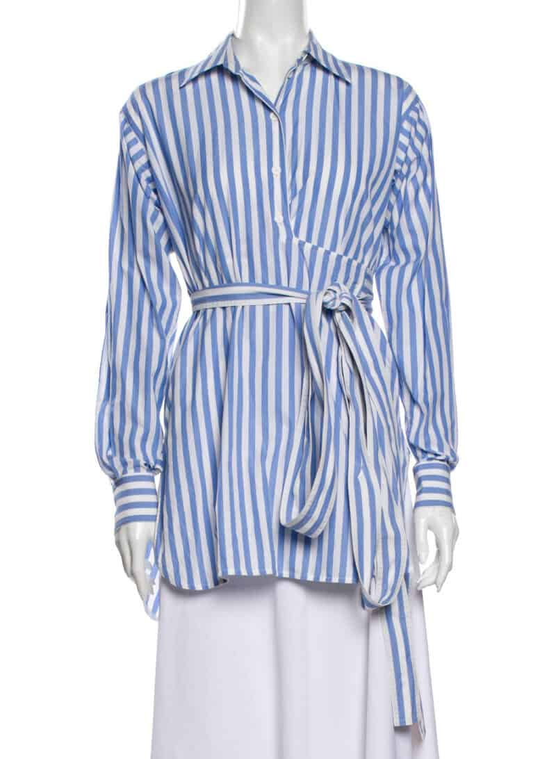 CELINE Striped Long Sleeve Button-Up Top Phoebe Philo