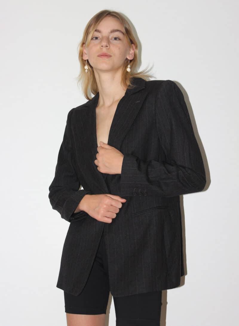 Giorgio Armani Classico grey pinstripe boxy blazer, 100% wool and silk, vintage, size large: 46