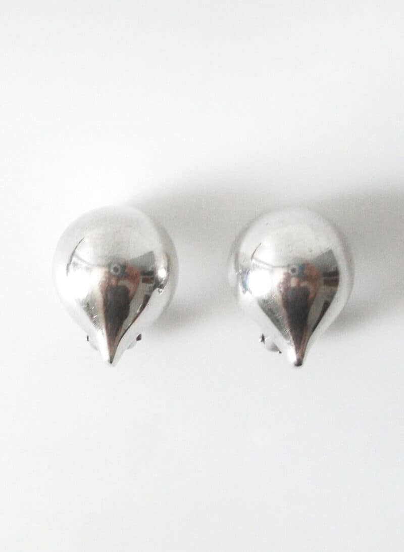 Hans Hansen Sterling Silver Half Dome Teardrop Shaped Clip On Earrings