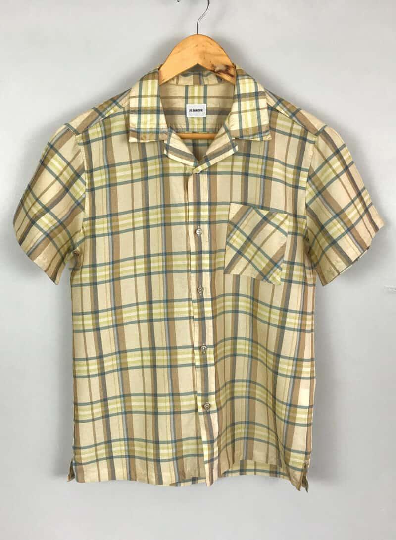 Jil Sander Men's Designer Checked Buttoned-Up 100% Silk Short Sleeve Shirt
