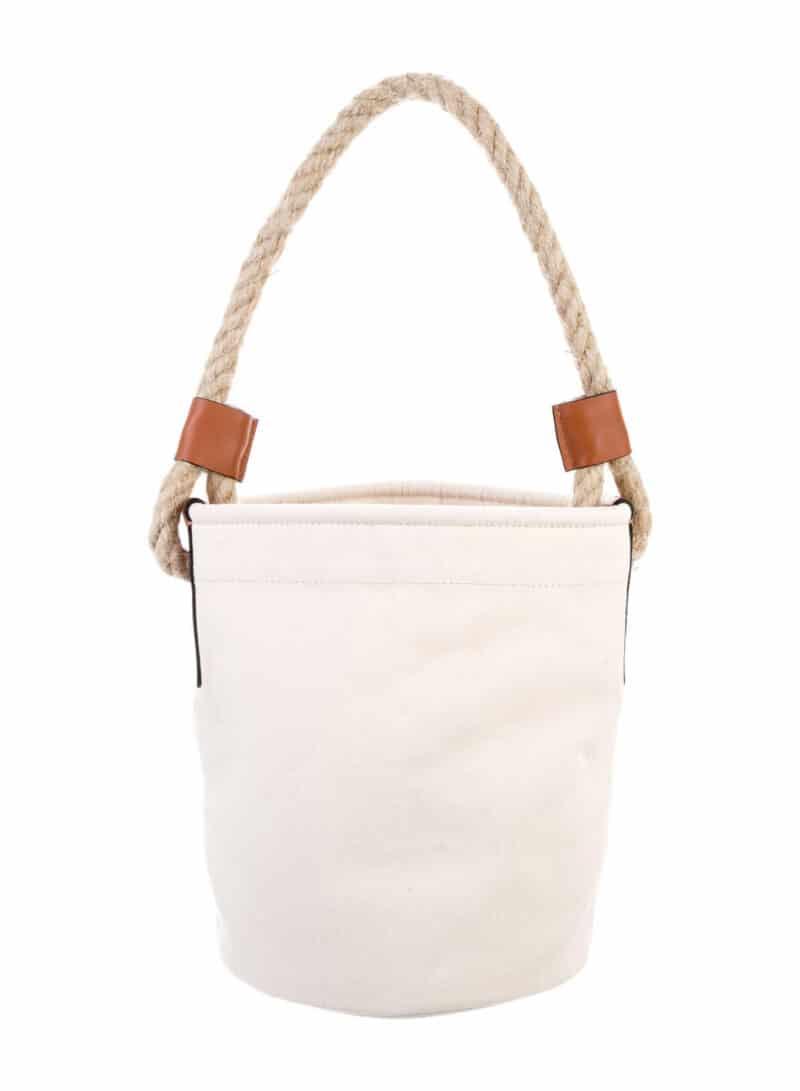 LOEWE 2021 Leather-Trimmed Canvas Bucket Bag