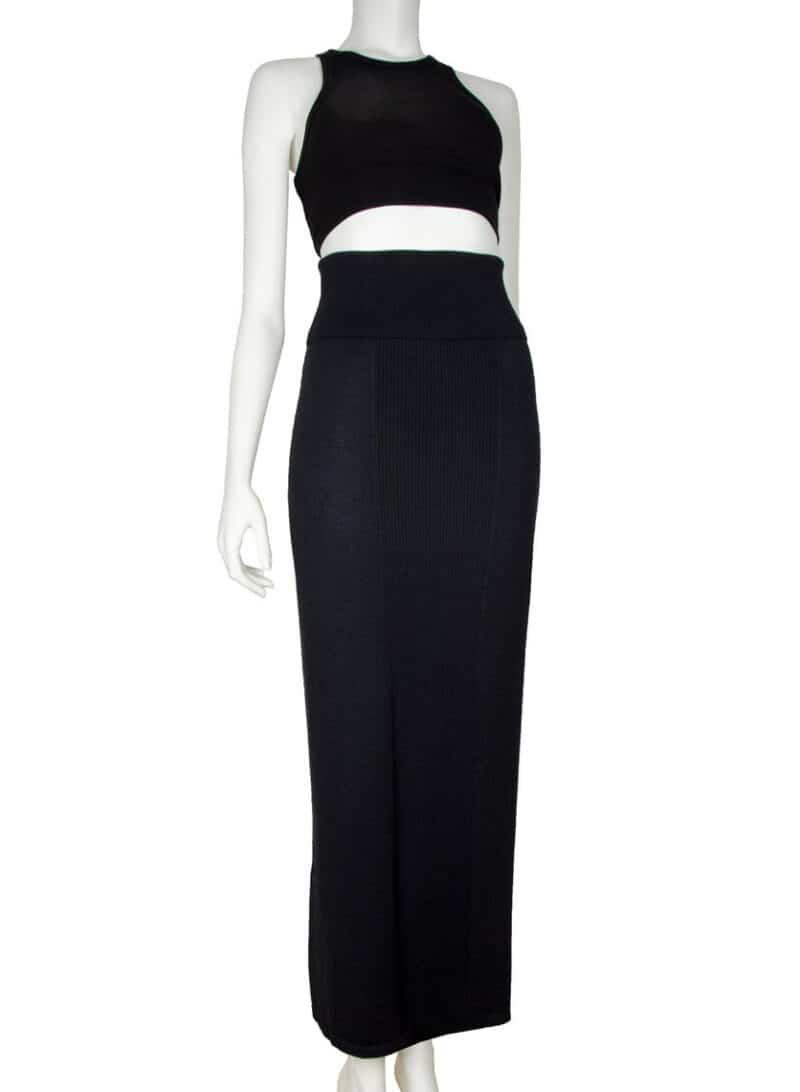 Long black wool vintage knitted skirt : Black wool maxi skirt