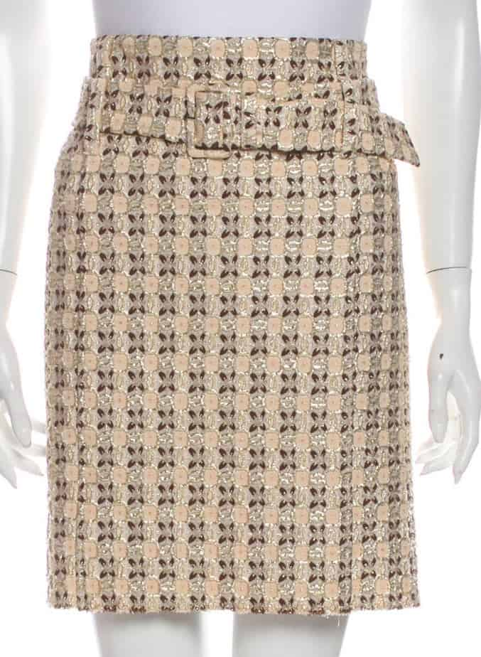 PRADA Tweed Pattern Knee-Length Skirt