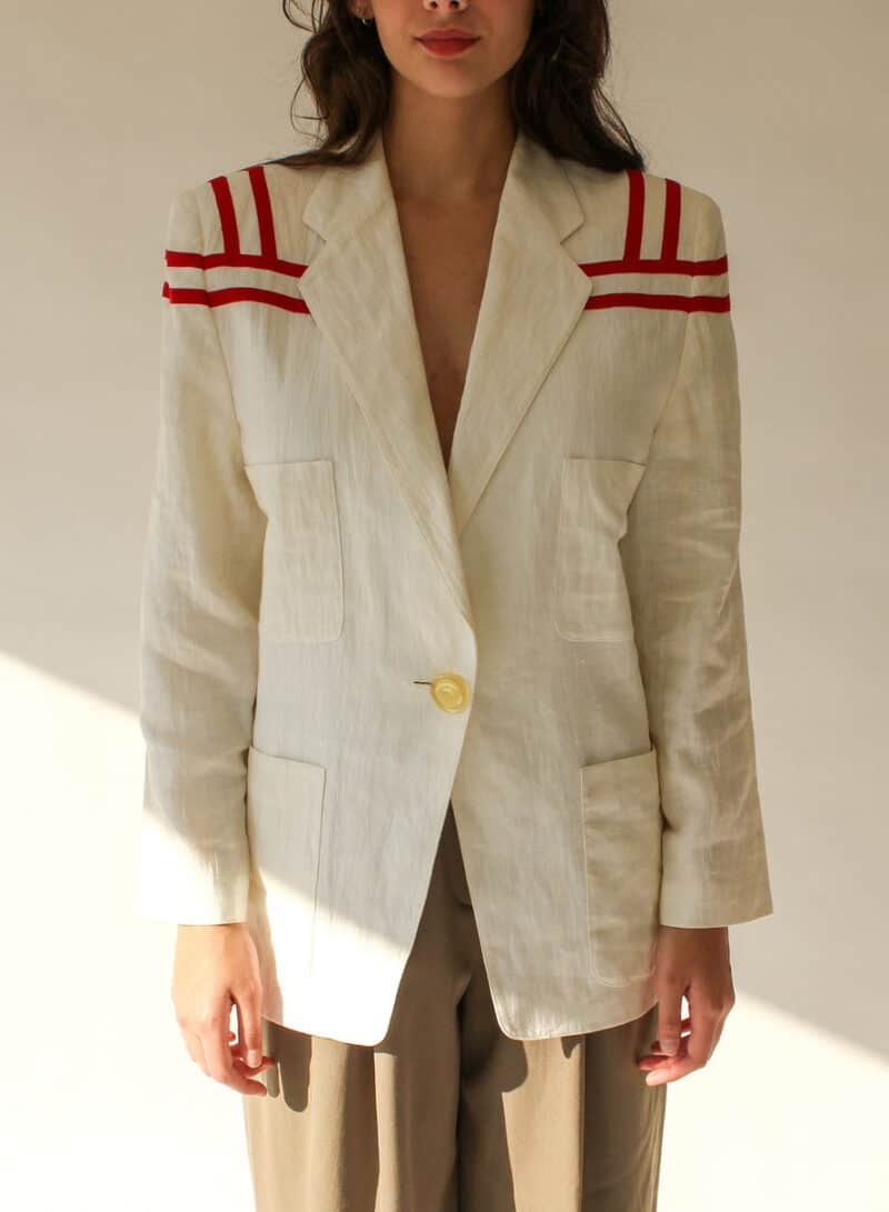 Vintage 80s Umberto Ginocchietti Cream Linen Blazer with Red Striped Shoulders | Made in Italy | 100% Linen