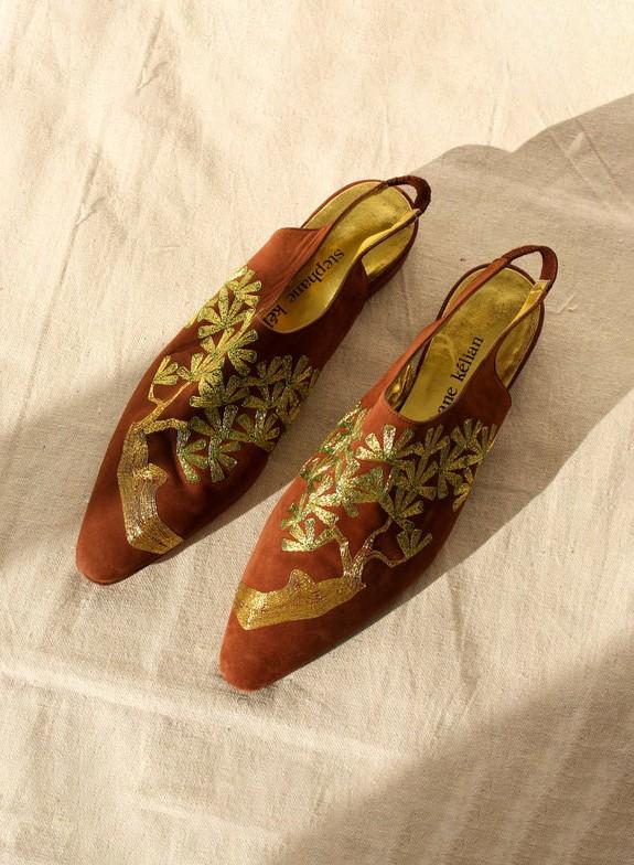 Vintage 90s Stephane Kelian Brown Suede & Metallic Gold Leaf Embroidered Slingback Sandals