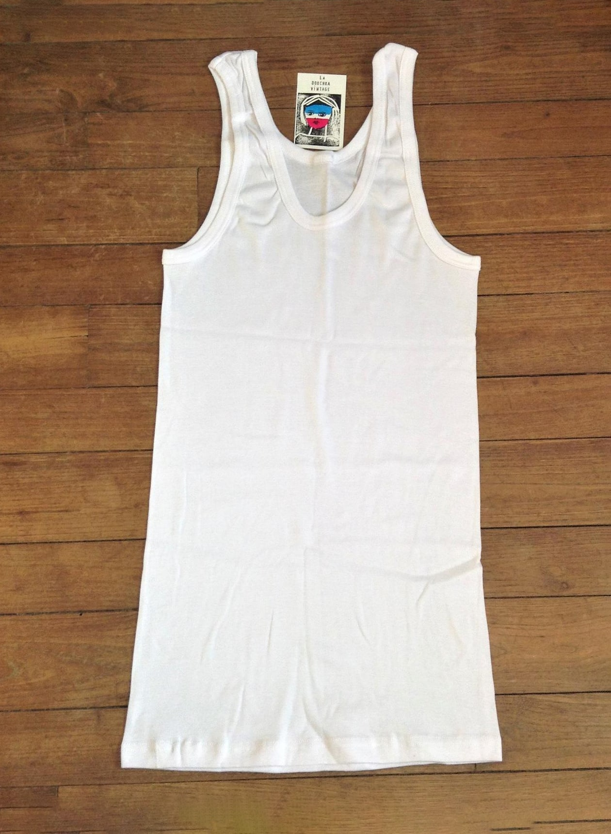 dc reco French 1970s Vintage Stretchable Underwear Undershirt Tank Top