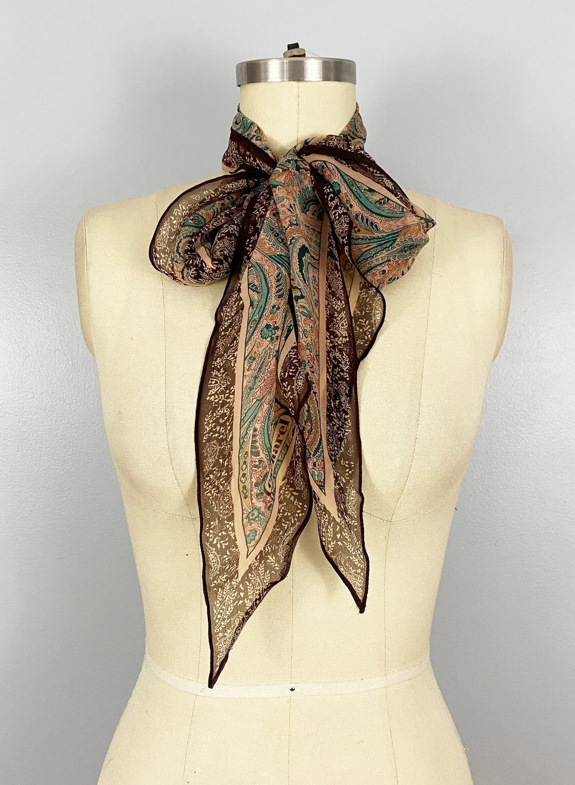 1970's Oblong Cacharel Paisley Silk Blend Sheer Scarf Head Wrap Vintage Brown Pink Green Autumn