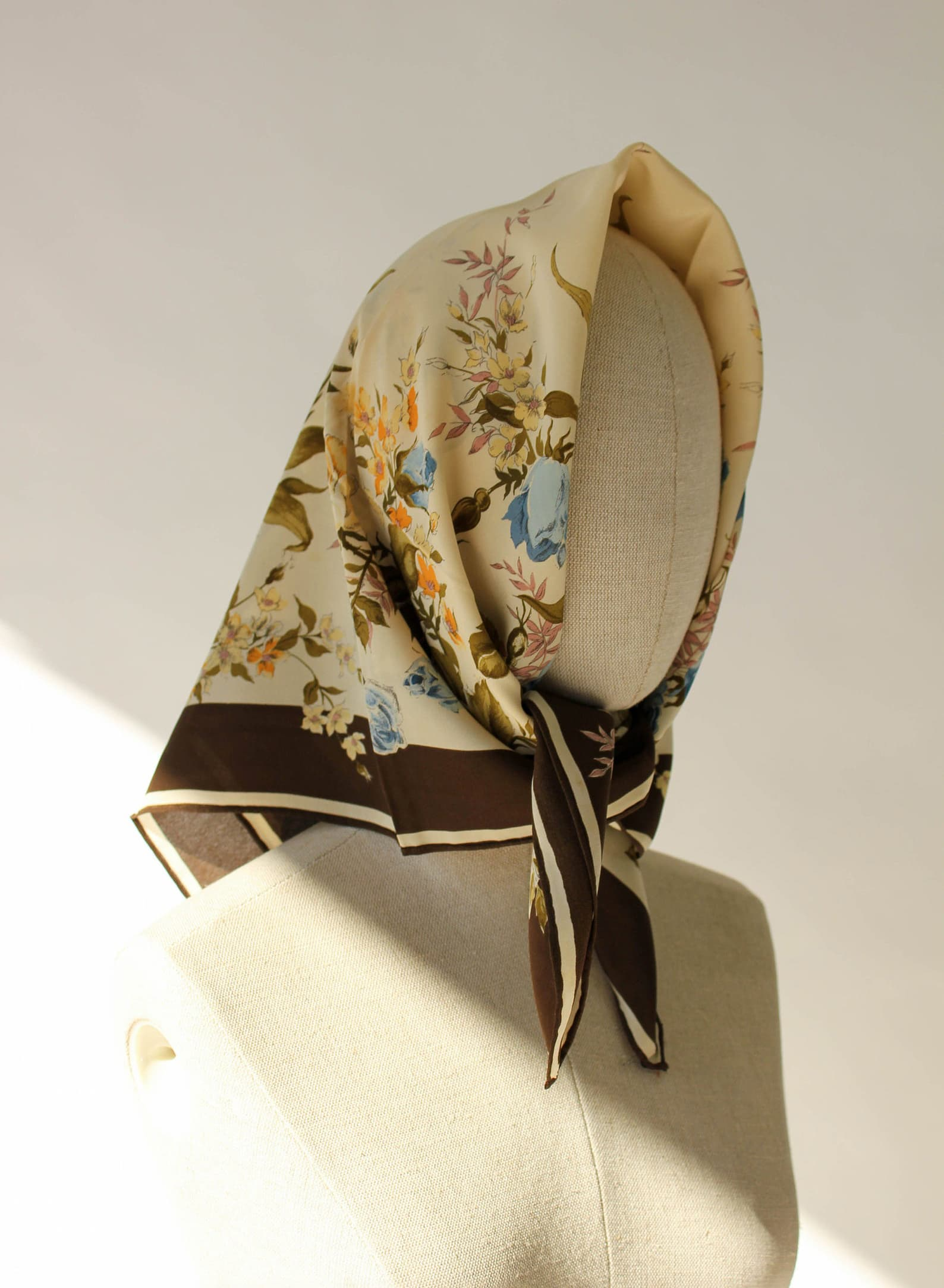 80s Yves Saint Laurent Brown Earthtone Floral Print Hand Rolled Scarf