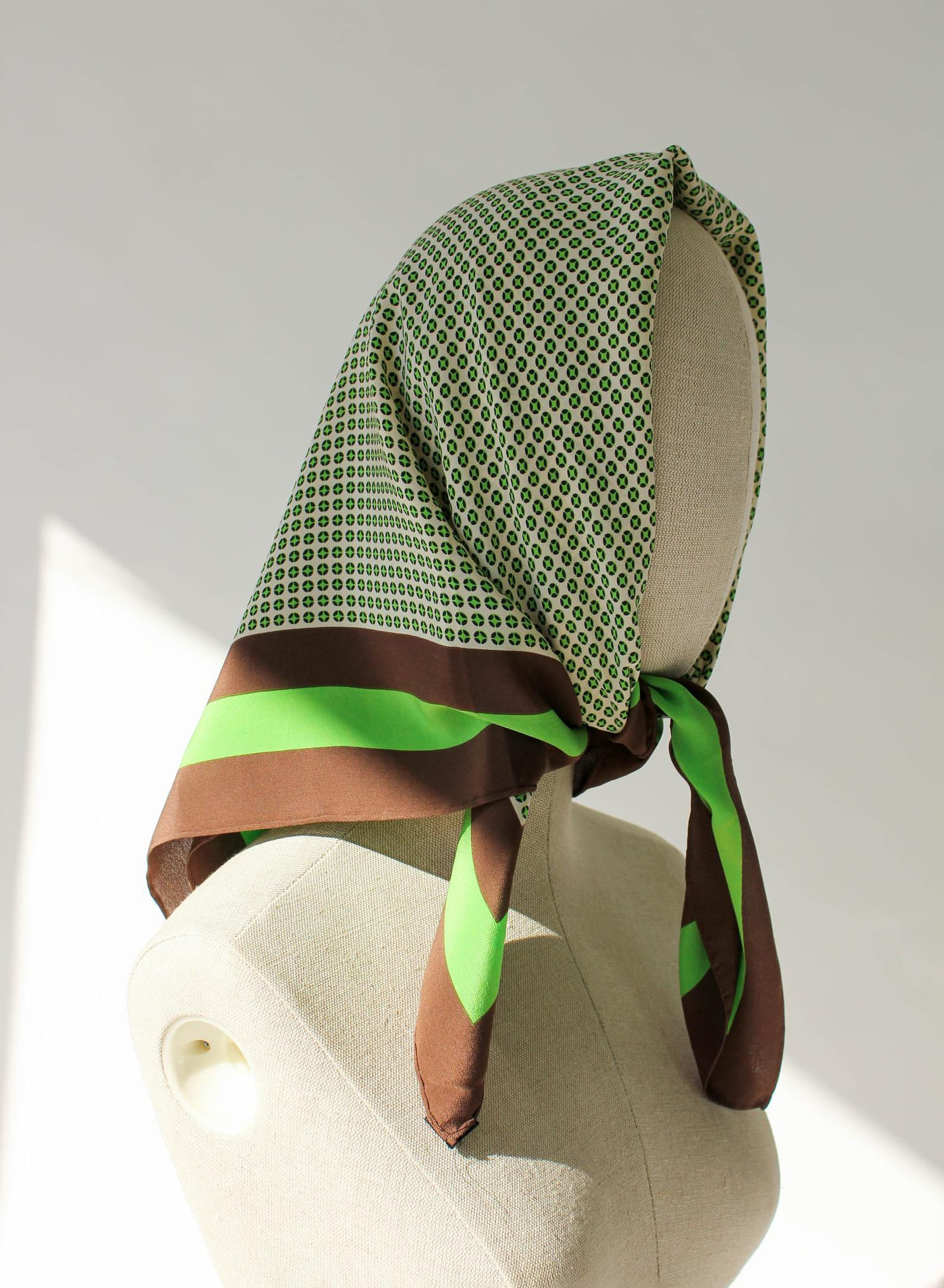 80s Yves Saint Laurent Brown & Lime Green Polkadot Hand Rolled Scarf