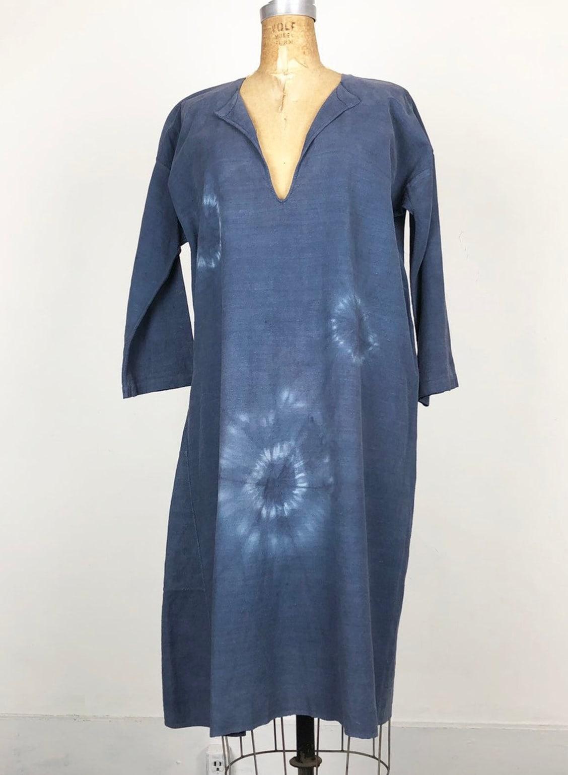 Antique Indigo Dyed French Linen Tunic S