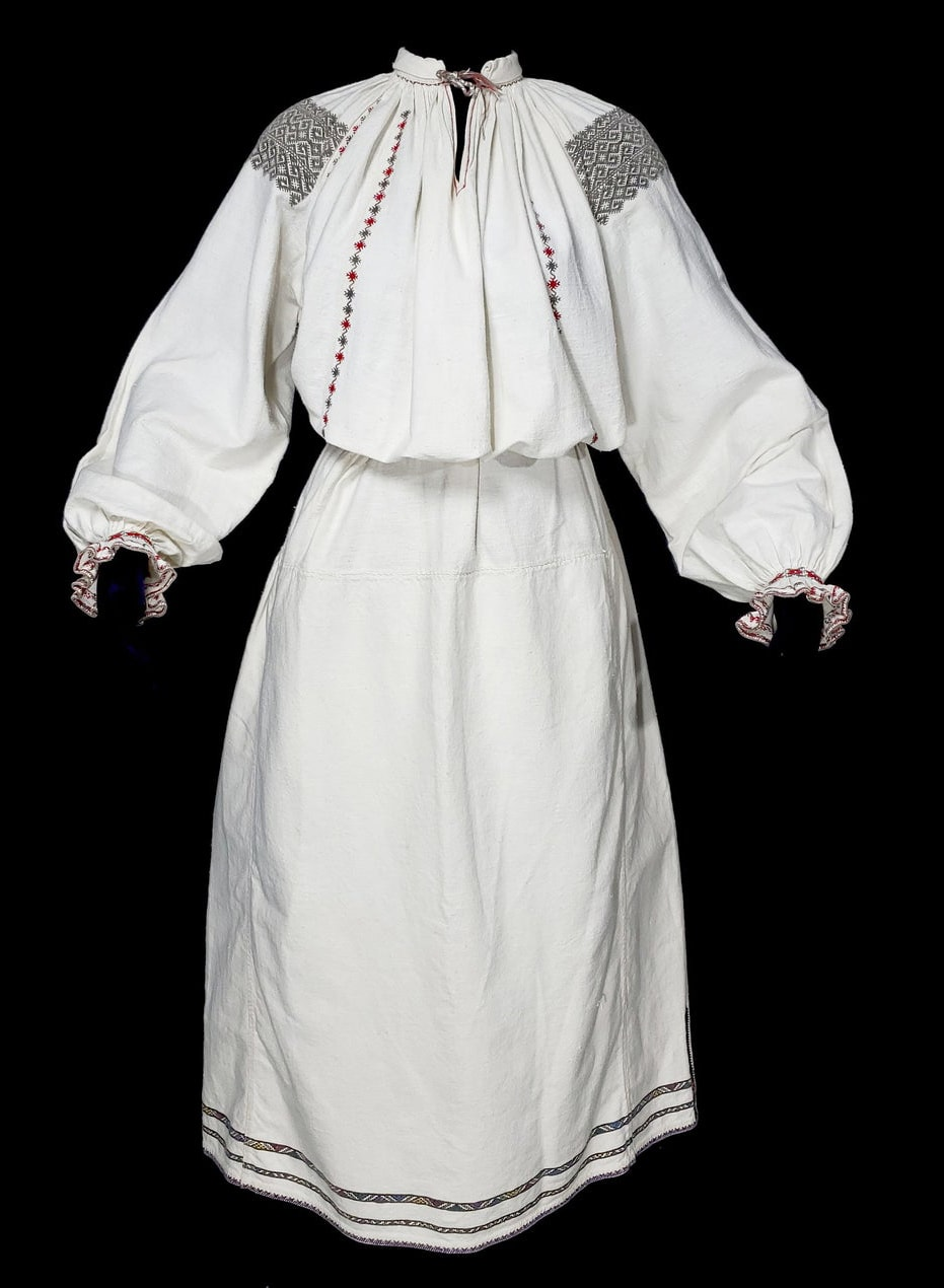 Antique Ukrainian folk costume linen dress | handmade chemise blouse | vyshyvanka sorochka geometric embroidery vintage homespun Vinnytsia