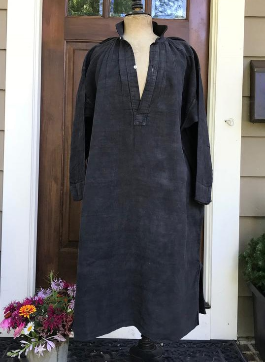 French Linen Chemise, Faded Black, Biaude, Artist Smock, Homespun Linen, 19th Century, Hand Sewn, Peasant Work Chore Wear Farmhouse
