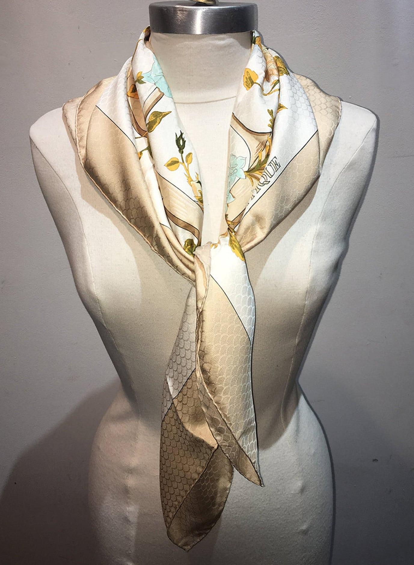 Hermes Vintage Romantique Silk Scarf in Beige c1970s1