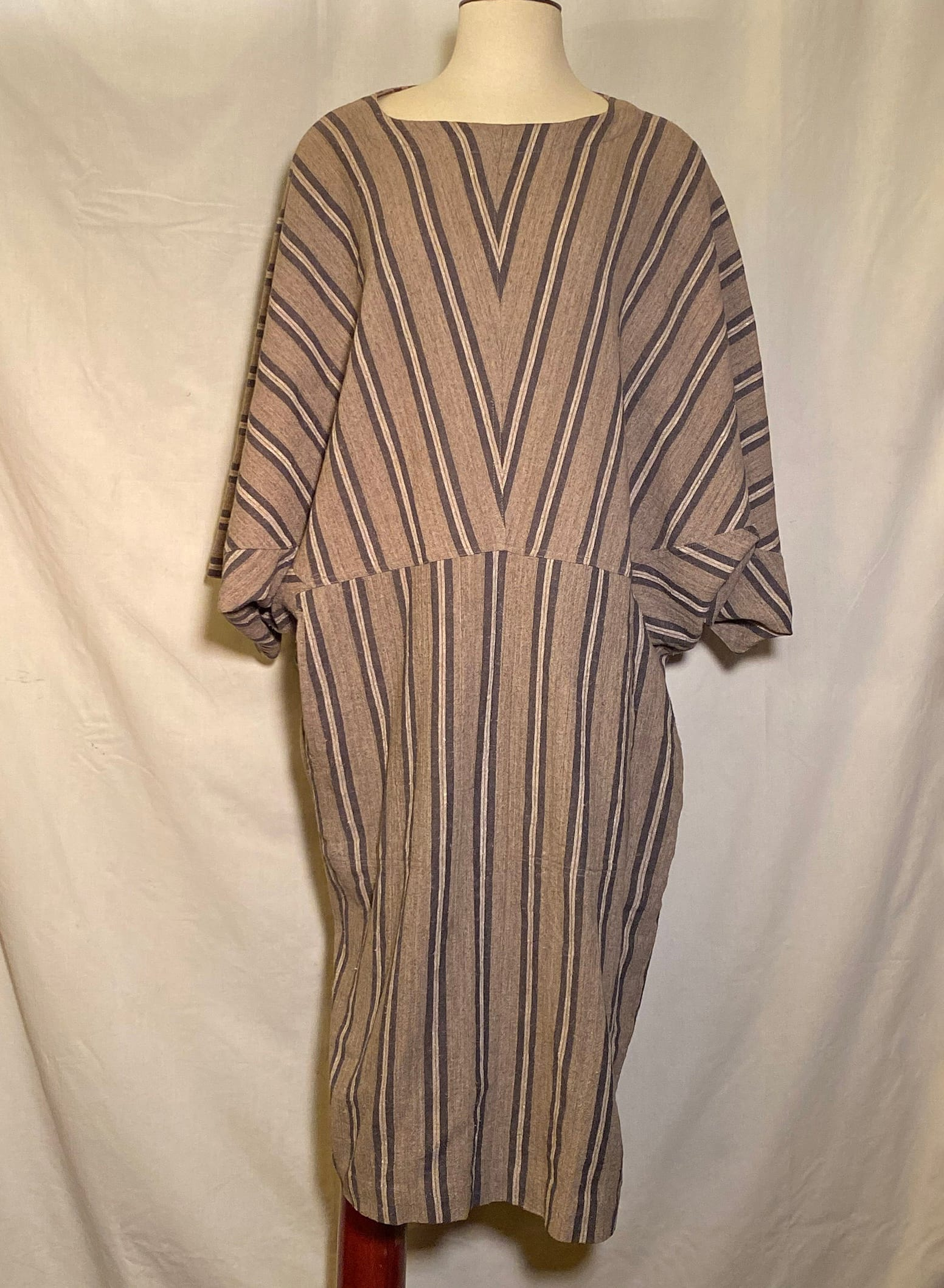 Issey Miyake Plantation Rare 1980s Collectable Taupe Oversize Dress Fits S:M:L