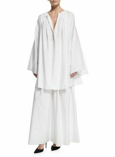 NWT $1850 The Row Melody Cotton Blend Blouse Tunic Top:Dress in White OS
