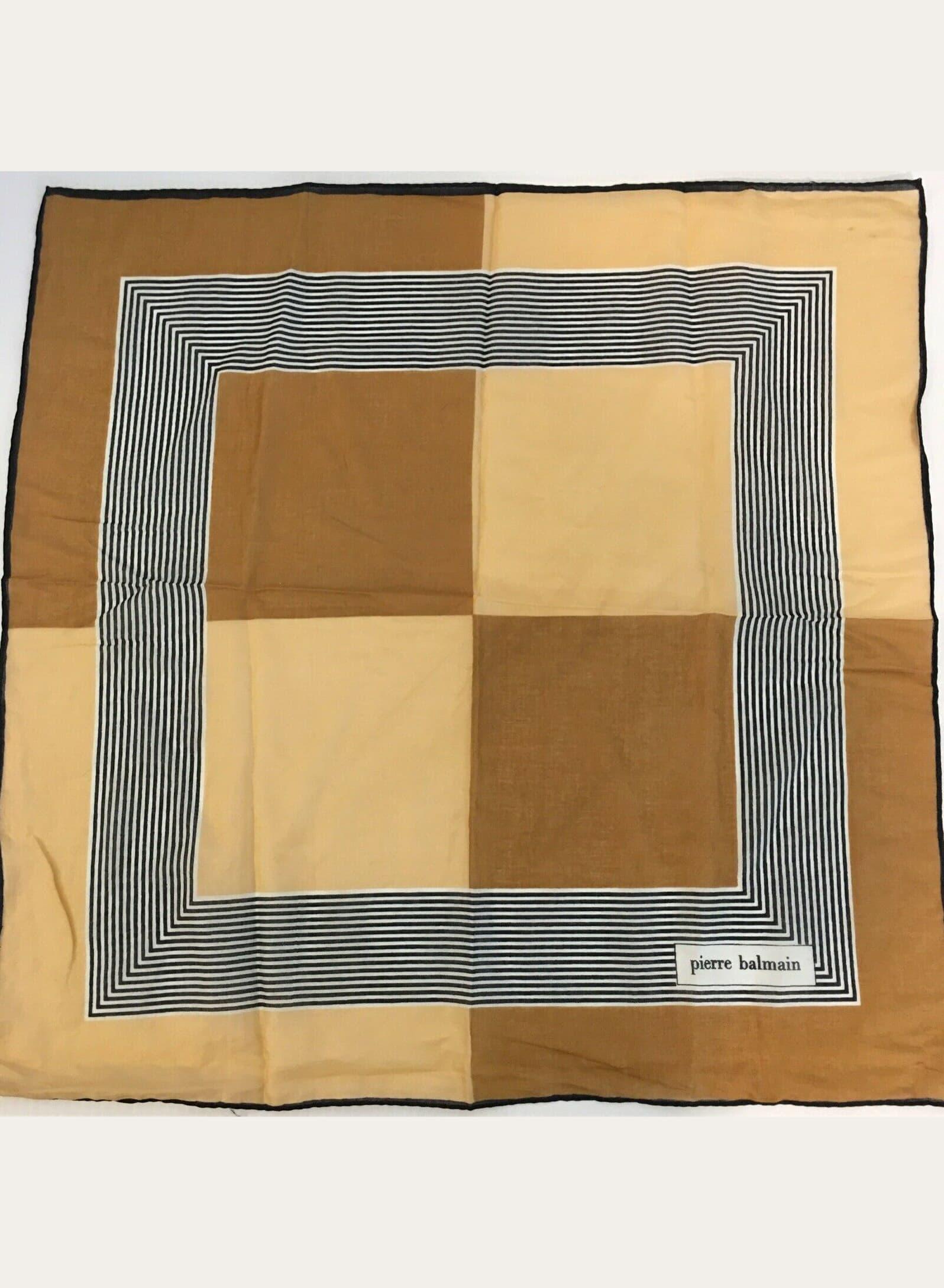 Pierre Balmain Vintage Scarf Designer Silk Abstract Print Black White Gold