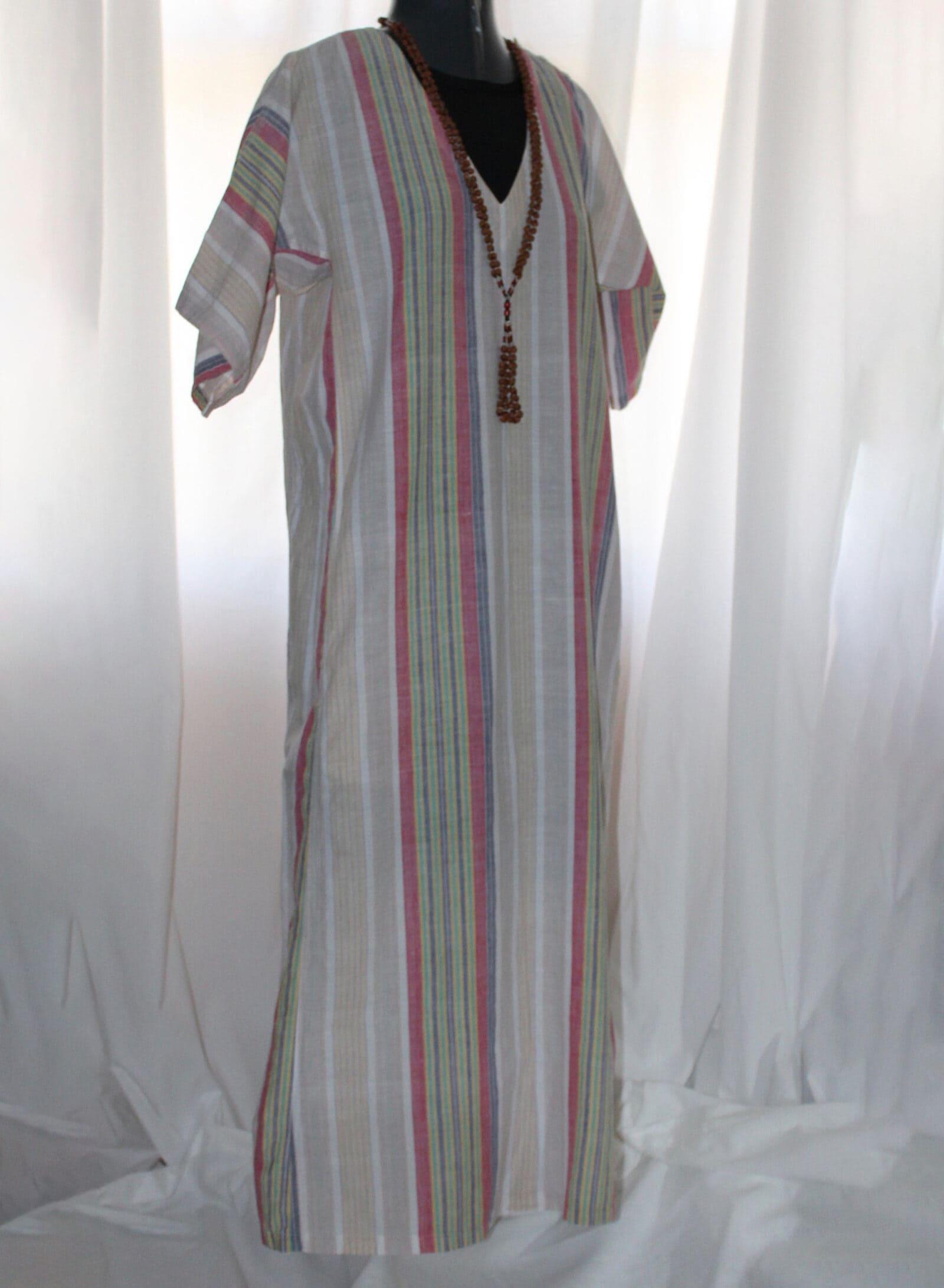 Vintage 70s Calvin Klein kaftan desert color stripes v neck short sleeve light semi sheer cotton vintage summer caftan dress designer