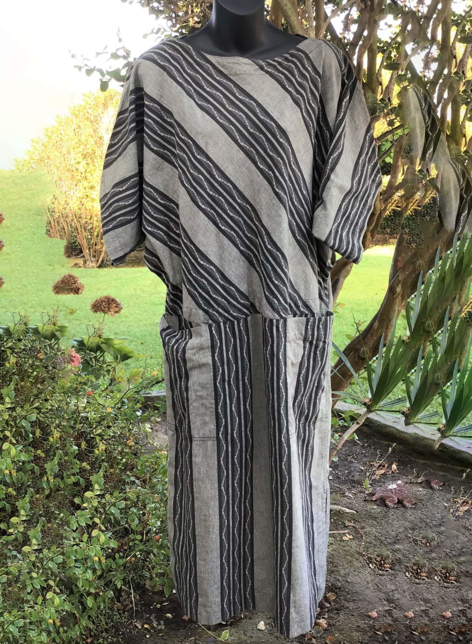 Vintage ISSEY MIYAKE Plantation Cotton Gray:Black Striped Short Sleeve Dress Size Medium