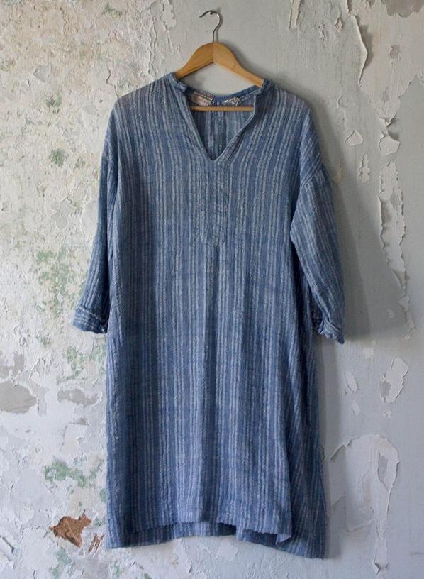 Vintage Tunic Dress - 70s 1970s Smock Dress - Bullocks Light Blue Stripe - Top India Cover Up Small Medium