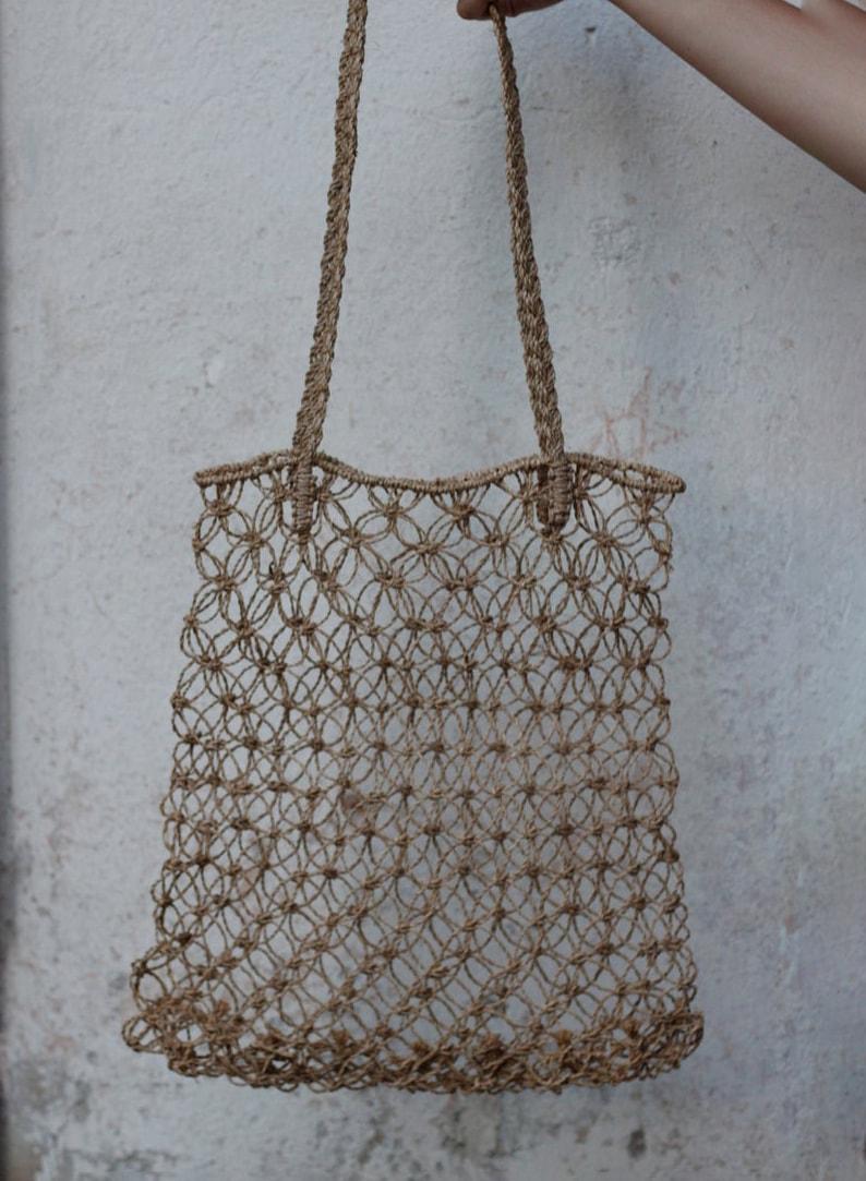 80's Straw Raffia Macramè Bag